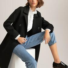 La Redoute Double Breasted Long Black Coat Sz 6 10 12 14 Wool Tailored RRP £125