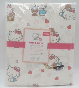 Pottery Barn Kids Hello Kitty Organic Sheet Set Hearts Blush Multi Queen #J106