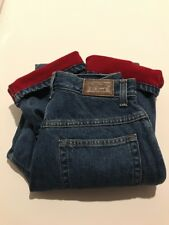 LL Bean Flannel Lined Jeans Relaxed DARK Women's SIZE 4 TALL Double L NEW RED2