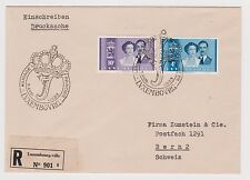 LUXEMBOURG - Registered mail 901, Royal Wedding stamps with cachet, 1953 (C125)