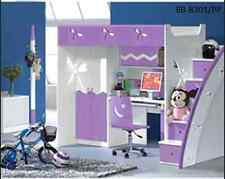 Purple Pink white BUNK BED with DESK and WARDROBE STAIRS POSITION ON EITHER SIDE