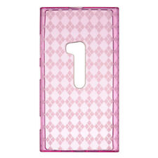 For Nokia Lumia 920 TPU CANDY Flexi Gel Skin Case Phone Cover Hot Pink Plaid