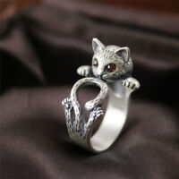 Women Boho Vintage Jewelry Kitty Cat Ring Animal Accessory Adjustable Knuckle LR