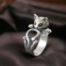 Mujeres bohemio Vintage joyería gatito gato anillo animales accesorios ajustabAS