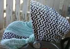 infant car seat cover and hood cover brown chevron with aqua minky