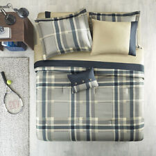 NEW! ~ COZY CLASSIC BLUE BEIGE TAUPE NAVY PLAID BOYS SOFT COMFORTER SET & SHEETS