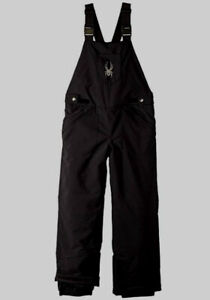 $300 Spyder Girl's Black Moxie Insulated Outerwear Overall Snow Pants Size 18