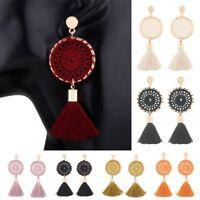 Bohemia Dreamcatcher Knit Long Tassel Dangle Ear Stud Earrings Womens Jewellery
