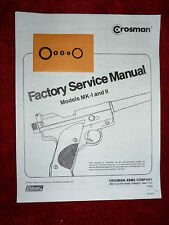 Crosman Mark I 1 Mark Mk Ii 2 O-Ring Seal Kit + Service Manual #2 + Guide