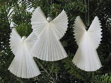 Anges de Noël blanc anciens décoration pour sapin de Noël vintage - lot de trois