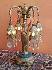 Rare Antique NeoClassic Greek Goddess w 4 ornate hanging lights Italian marble