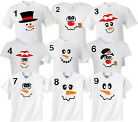 Snowman Characters faces Birthday Halloween Christmas family T-Shirts