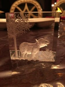 Vintage M. COX Reverse Carved Elephant Lucite Cube Sculpture Signed Paperweight