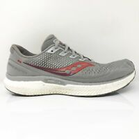 Saucony Mens Triumph 18 S20595-30 Gray Red Running Shoes Lace Up Size 10.5