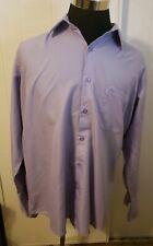 STACY ADAMS Men's  sz 17 34-35 French Cuff  Dress Shirt Purple Polka Dot