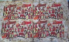 Enorme Cera Batik/Muro Appeso ~ Pittura/foto scena villaggio ~ ~ Khaki ~ NUOVO ~
