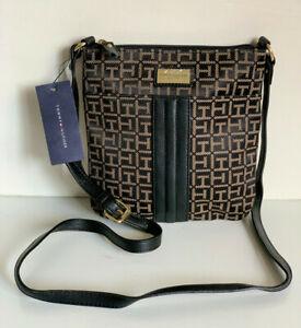 NEW! TOMMY HILFIGER BLACK BROWN CROSSBODY MESSENGER SLING BAG PURSE $69 SALE