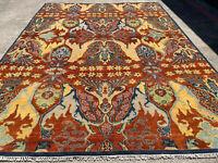 9x12 HANDMADE WOOL RUG HAND-KNOTTED oriental handwoven rust blue modern carpet