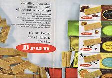 PUBLICITE ADVERTISING 084 1962 BRUN Gaufrettes Vanille chocolat noisette