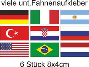 Fahnen Aufkleber Fußball Flagge Auto Motorad Fahrrad Sticker 8x4cm 6 Stück