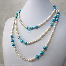 """62"""" 4-9mm White Blue Multicolor Freshwater Pearl Necklace Off Round Rice"""