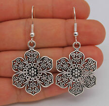 "925 Silver Plated Hook - 1.97"" Chic Hollow Flower Retro Prom Lady Earrings #61"