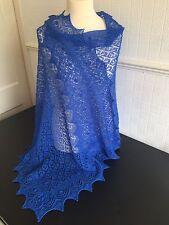 Beautiful lace 100%pure Alpaca shawl / scarf col: Electric Blue