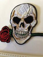 PUNK SKULL WITH ROSE EMBROIDERED IRON ON PATCH / BADGE / APPLIQUE LARGE