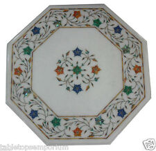 1'x1' White Marble Top Coffee Table Rare Malachite Inlay Home Christmas Decor
