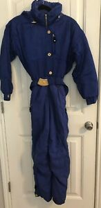 Womens Obermeyer Karina Sz 4 Ski Jumpsuit Snow  Blue Zip Up Belted Hood Paisley