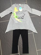 DISNEY TINKERBELL FAIRIES GREY TUNIC TOP T-SHIRT BLACK LEGGINGS 3-4 YEARS NEW