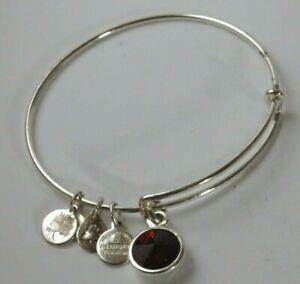 Alex And Ani Silver tone Red Swarvoski charm expandable bracelet