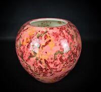 Magnifique vase boule rose et vert en faïence émaillée décors fait main