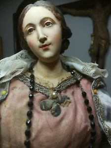 Antica Madonna del rosario lignea napoletana 60cm 800
