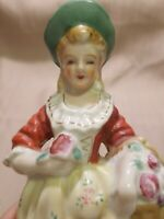 "Occupied Japan Porcelain 8"" Woman With Apple Basket"