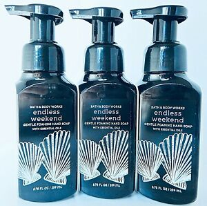 3 BATH & BODY WORKS ENDLESS WEEKEND GENTLE FOAMING HAND SOAP WITH ESSENTIAL OIL