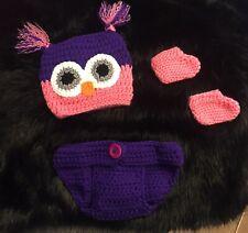 Girls pink purple crochet owl hat 0-3 12M 2T 3T NWT newborn photos cap braided