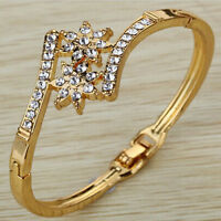 Bangle Bow Shape Crystal Bracelet 9K Yellow Gold Filled Prom Gift HOT SALE