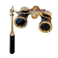 3x25 Opera Theater Telescope Lady Glasses Brass Coated Lens Binocular W/Handle