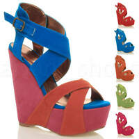WOMENS LADIES HIGH HEEL PLATFORM STRAPPY BUCKLE WEDGE SANDALS SHOES SIZE