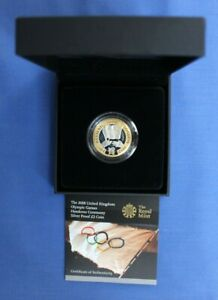"""2008 Silver Proof £2 coin """"Olympic Handover"""" in Case with COA"""