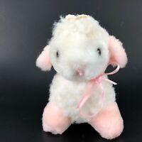 "VTG Lamb Plush Stuffed Toy Tiny 4.5""x 4"" Pink White Flower on Head Ribbon Pastel"