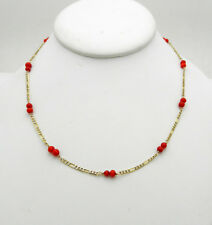 """Vintage 14k Yellow Gold Figaro Coral Bead Chain Necklace 5.2 grams 16.5"""" long"""
