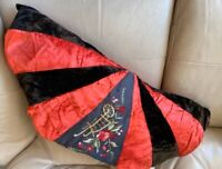 1930s Cushion French Ruffle Embroidered Red Silk Boudoir Black Velvet Vintage