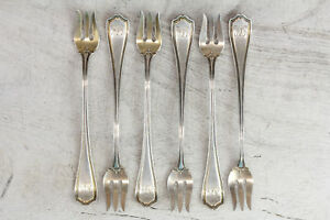 6x REED & BARTON HEPPLEWHITE STERLING SILVER ANTIQUE COCKTAIL FORK BEAUTIFUL