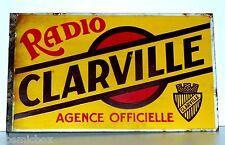 RADIO CLAIRVILLE équerre double face deco loft PLAQUE EMAILLEE ancienne jaune