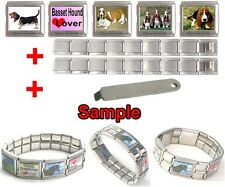 Basset Hound Dog 18mm Mega Stainless Steel Italian Charms Bracelet + Tool HG21