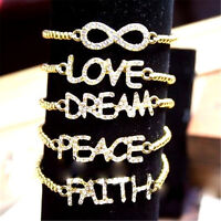 Vintage retro antique style love dream peace faith bracelet multiple choices