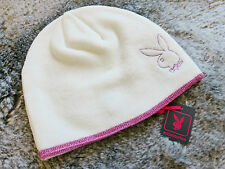 Super Cute Ladies Playboy Glittery Pink and Cream Bunny Logo Beanie Hat