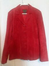 Uniform John Paul Richard Woman Sz 16 Blazer Shirt Jacket Red Suede Leather